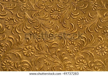embossed floral panel, gold - stock photo