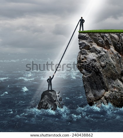 Embrace opportunity business concept as a person in a crisis stranded in the ocean being supported by an extended helping hand by another man on top of a high cliff on solid ground. - stock photo