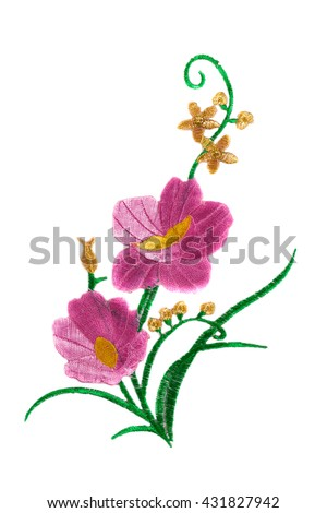 Embroidered flower. Isolate on white. - stock photo