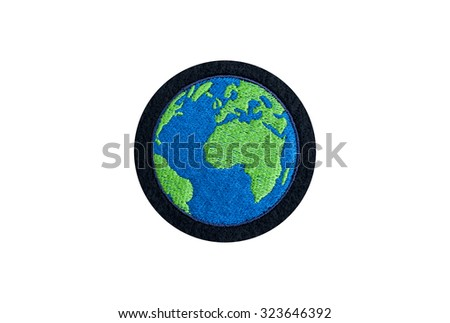 embroidered globe badge - stock photo