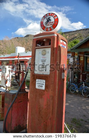 EMBUDO, NM - MAY 15: Johnny Meier's Classic Gas museum on May 15, 2014 in Embudo , New Mexico, USA. The museum collection has steadily grown over the last 25 years.  - stock photo