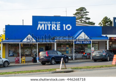 Emerald, Australia - April 20, 2016: Mitre 10 is a Australian franchised hardware chain with more than 400 stores, including this store in Emerald in the Dandenong Ranges.