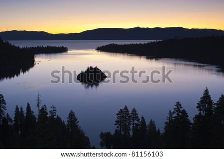 Emerald Bay after sunset, South Lake Tahoe, California, USA - stock photo
