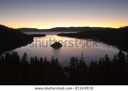 Emerald Bay after sunset, South Lake Tahoe, California, USA