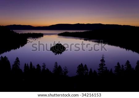 Emerald Bay Lake Tahoe California at sunrise - stock photo