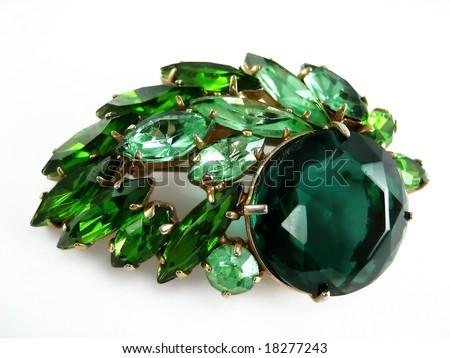 emerald brooch - stock photo