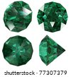 Emerald color jewel gem isolated - stock photo