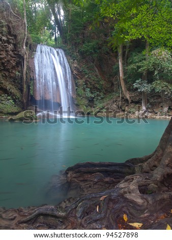 Emerald color water in tier third of Erawan waterfall, Erawan National Park, Kanchanaburi, Thailand