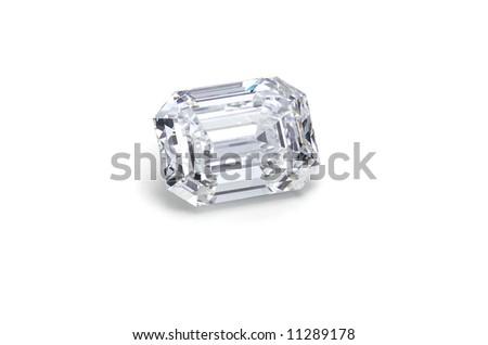 emerald cut diamond on white angled - stock photo