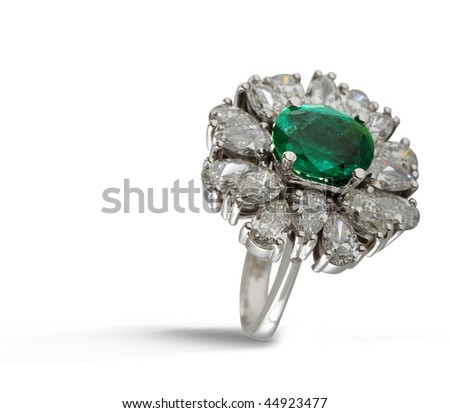 emerald diamond ring - stock photo
