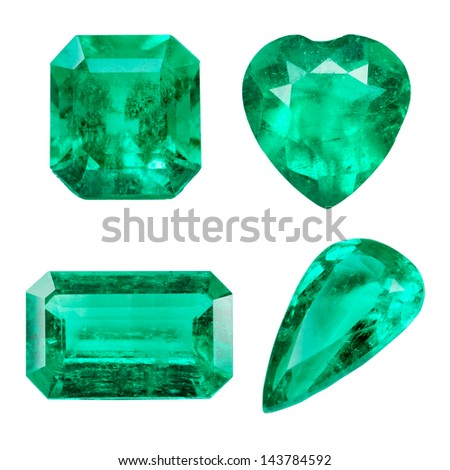 Emerald isolated on white background - stock photo