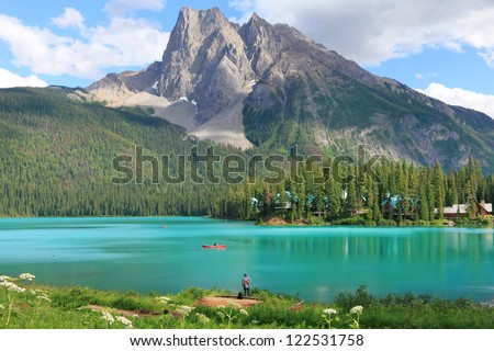 Emerald lake and Rocky Mountains (Yoho National park. Alberta. Canada)