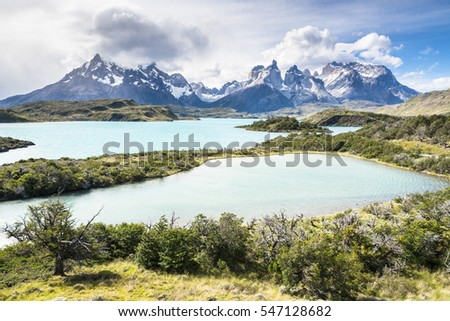 Emerald lakes in Torres del Paine National Park, Patagonia, Chile