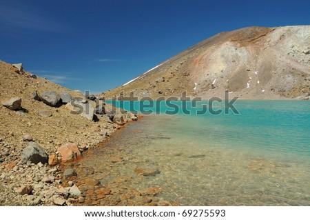 Emerald Lakes - Tongariro Northern Circuit - New Zealand - stock photo