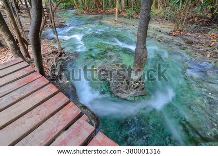 Emerald pool at Krabi thailand.Infinity focus.Long speed shutter.Waterfall at thailand. - stock photo