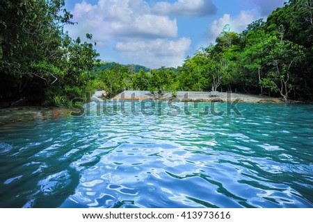 emerald pool the hot springs - stock photo