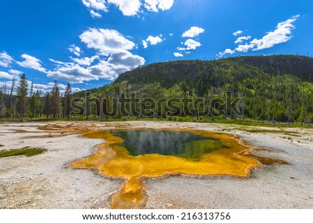 Emerald Pool Wide Angle Shot, summer day, Yellowstone National Park, - stock photo