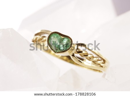 Emerald ring/ woman emerald heart ring