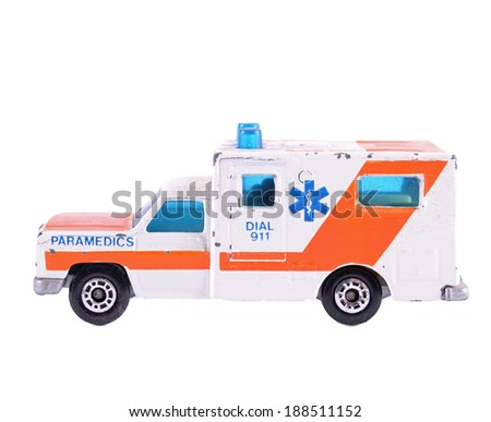 Emergency ambulance car,isolated on white background.  - stock photo