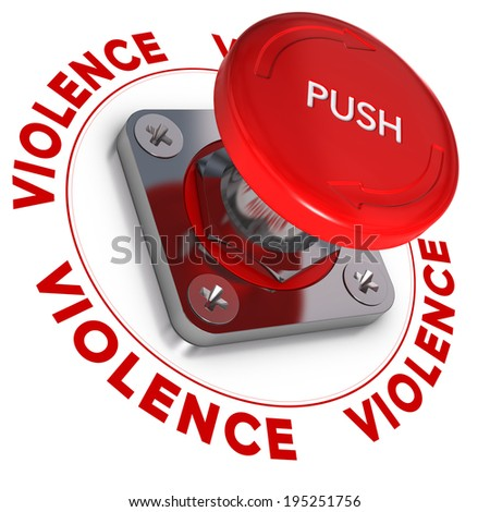 Emergency button wit the word violence around it over white background. Conceptual illustration of domestic violences.