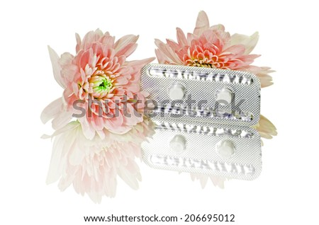 Emergency Contraceptive Pills, Morning-After Pills or Post-coital Pills Isolated on White Background with Clipping Path. - stock photo