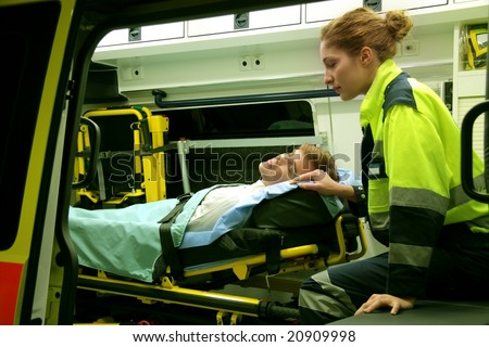 Emergency equipment in an ambulance interior - stock photo