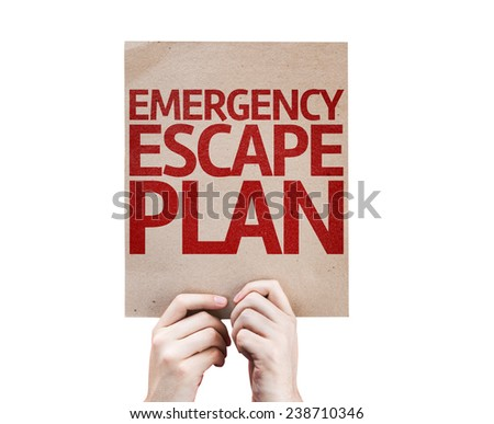 Emergency Escape Plan card isolated on white background - stock photo
