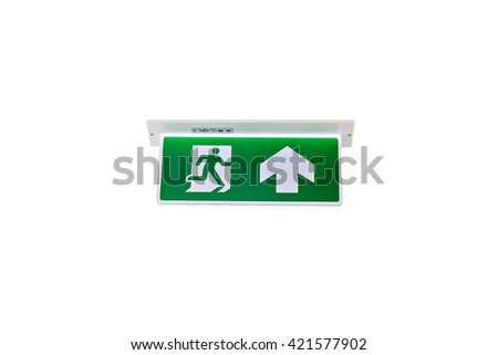 Emergency exit or fire exit isolated on white background - stock photo