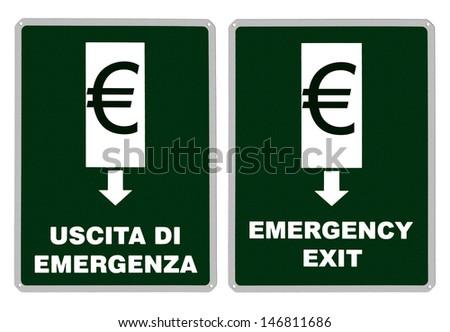 Emergency exit sign - Euro, Europe, Eurozone - stock photo