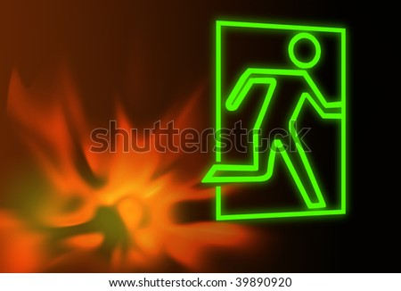 Emergency exit symbol with flames - stock photo