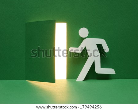 Emergency exit with floor. - stock photo