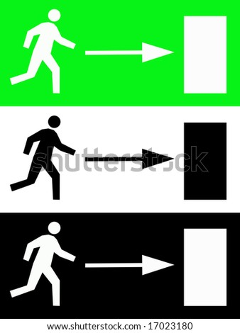 Emergency fire escape signs - stock photo