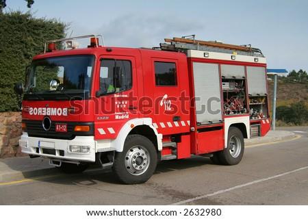 "Emergency Fire truck ""Bomberos"" in Madrid, Spain - stock photo"