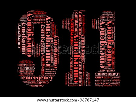 emergency info-text graphic and arrangement concept on 911 shape - stock photo