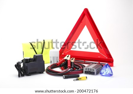 Emergency kit for car isolated on white background - stock photo