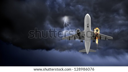 Emergency landing of a Jet Carrier with left engine on fire - (Not a real situation) - Concept of emergency.(Panoramic Frame) - stock photo