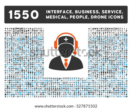 Emergency Manager and other web interface, business tools, people poses, medical service glyph icons. Style is flat symbols, bicolored, rounded angles, white background.