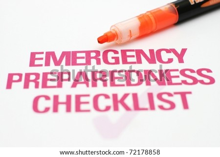 Emergency preparedness checklist - stock photo