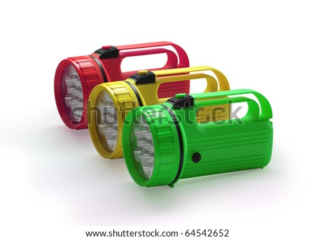 Emergency red yellow and green flashlight at row  on white background - stock photo