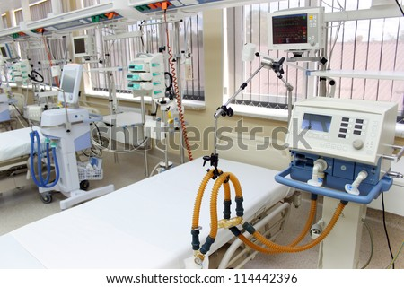 Emergency room (ER) ready to receive patients for hospitalization - stock photo