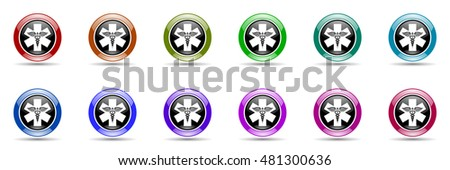 emergency round glossy colorful web icon set