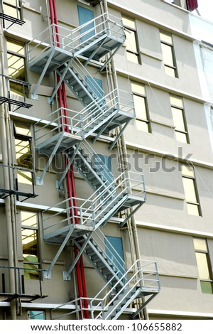 emergency stairs at the rear of a building - stock photo