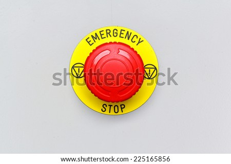 Emergency stop button, Disaster protection - stock photo