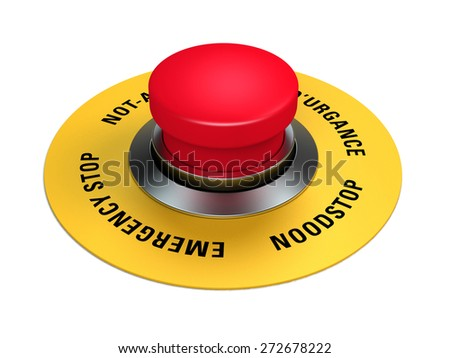 emergency stop button to interrupt industrial production - stock photo