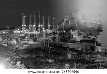 emergency  Vacuum truck  for oil spill  refinery oil plant black and white tone. - stock photo