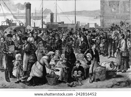 Emigrants leaving Queenstown, Ireland, for New York, 1874. Queenstown, whose Irish name was Cobh was the major Irish port of immigrant embarkation for North America. - stock photo