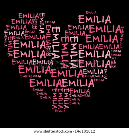 Emilia word cloud in pink letters against black background - stock photo