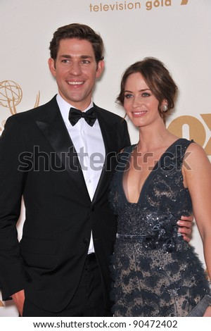 Emily Blunt & John Krasinski arriving at the 2011 Primetime Emmy Awards at the Nokia Theatre, L.A. Live in downtown Los Angeles. September 18, 2011  Los Angeles, CA Picture: Paul Smith / Featureflash - stock photo