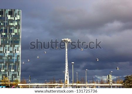 Emirates cable car and The O2, a large entertainment complex on Greenwich Peninsula in London, November 25, 2012.