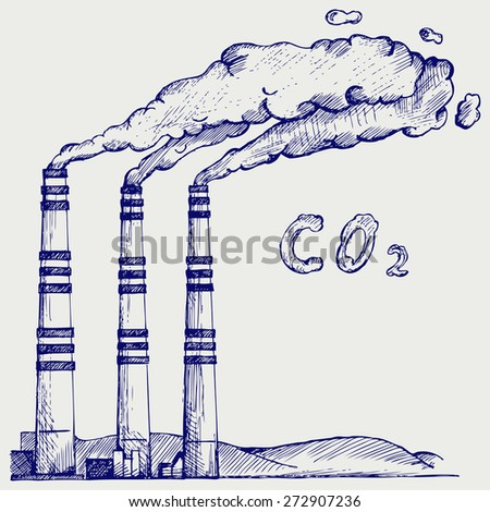 Emission from coal power plant. Co2 cloud. Doodle style. Raster version - stock photo